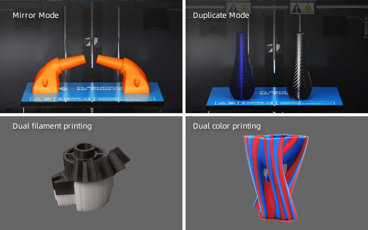 Flashforge Creator Pro 2 3d printer supports multi-printing modes: mirror, duplicate, dual filament printing and dual color printing | Flashforgeshop