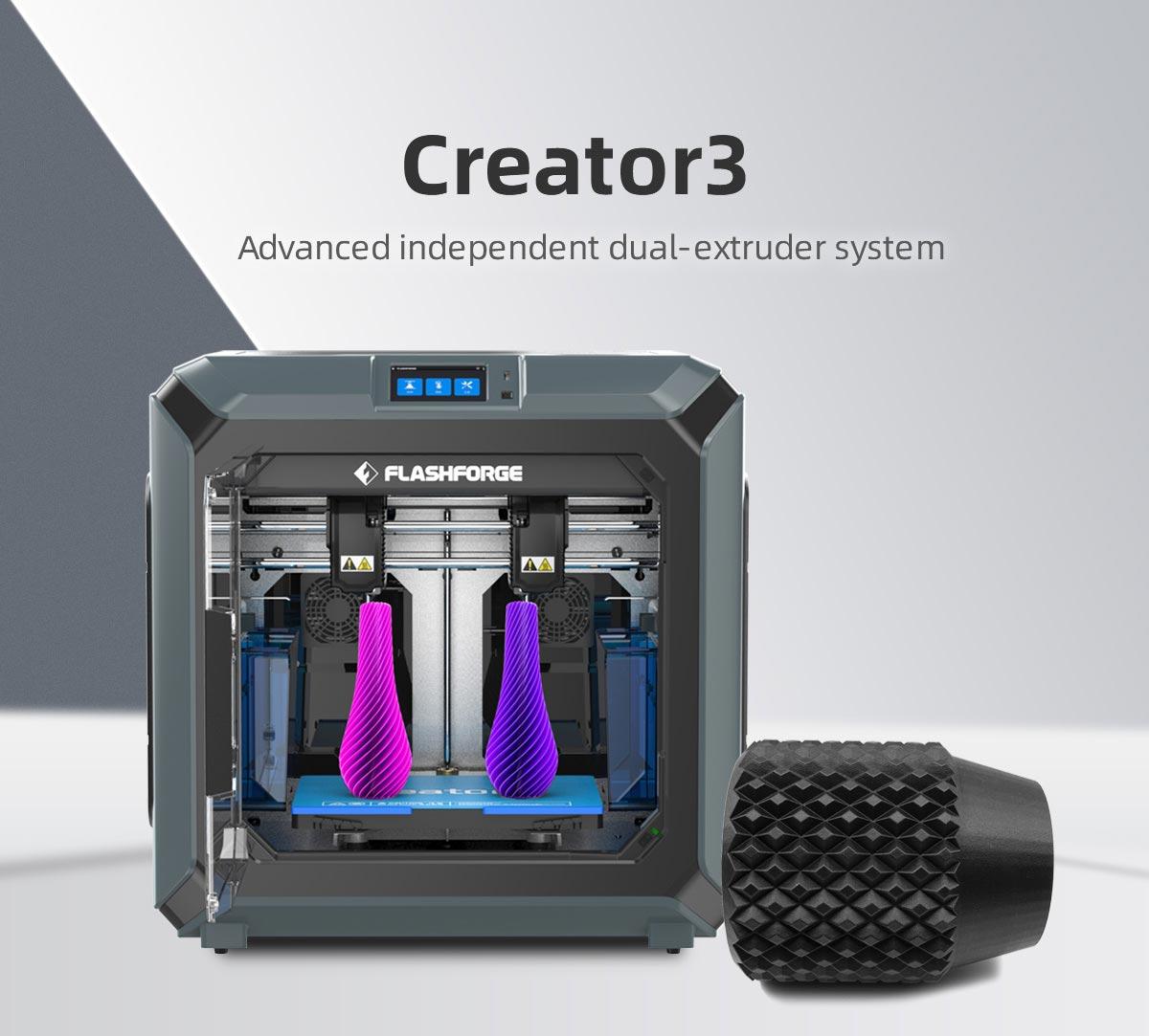 Flashforge Creator 3 3d printer with advanced independent dual-extruder system | Flashforgeshop