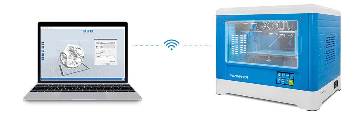 Flashforge Inventor 3d printer transfers 3d files via wifi & usb stick | Flashforgeshop